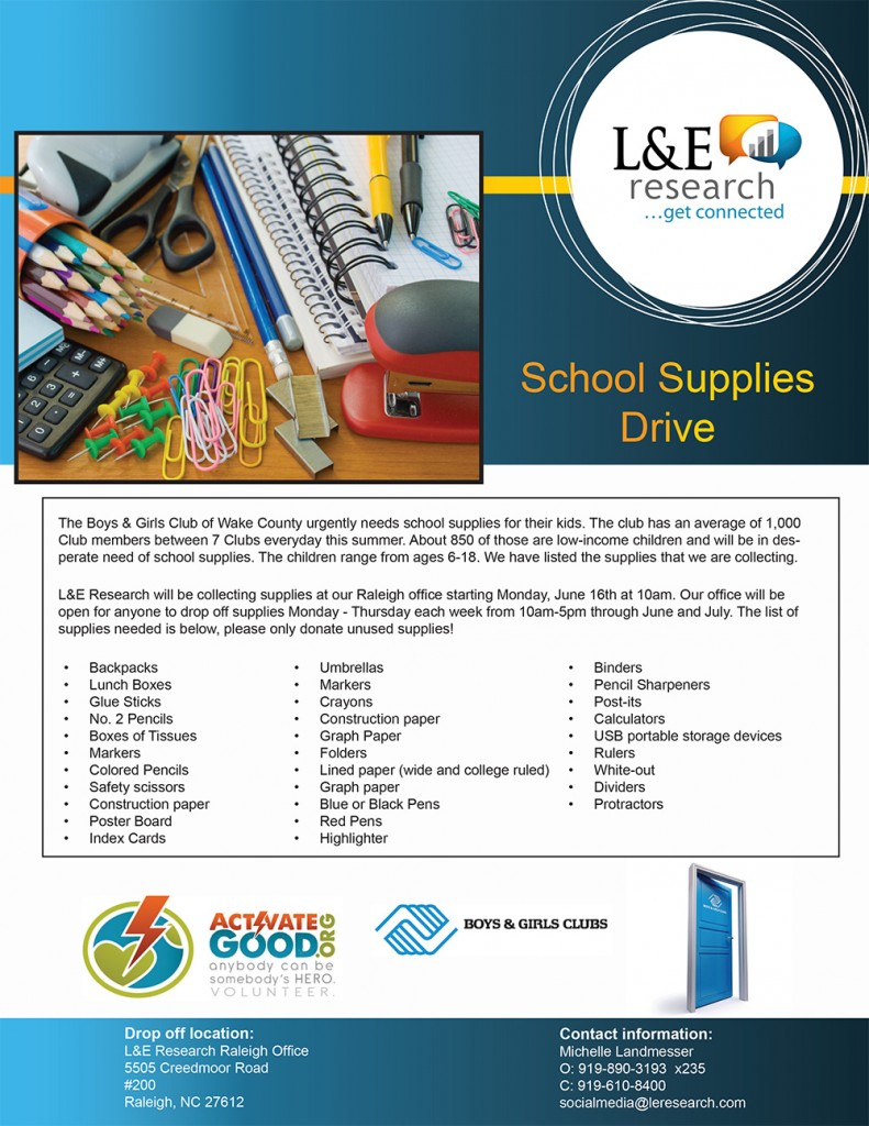 back to school L&E Research Boys & Girls Clubs wake count Raleigh volunteering