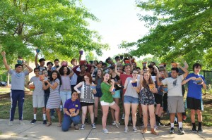 """Students sport happy, and healthy superhero poses at Enloe HS in Raleigh, at the request of their administrators, volunteered with Activate Good on campus during school hours on a variety of """"portable projects"""" during Teen Days of Service 2017 - including Pollinator Pots for a healthier home and school environment!"""