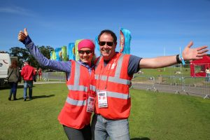 Irish volunteers help out at a Lana Del Ray concert at Malahide Castle and Gardens. Photograph: Leah Carroll